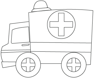 Tegning til farvelægning af en ambulance