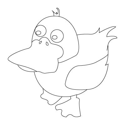 Tegning til farvelægning af en and