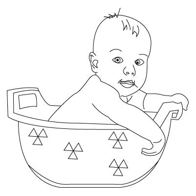 Tegning til farvelægning af en baby