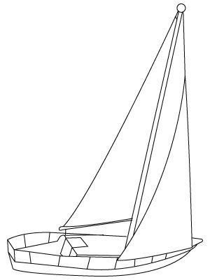 Tegning til farvelægning af en båd