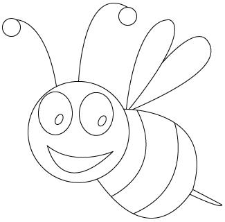 Tegning til farvelaegning af en bi