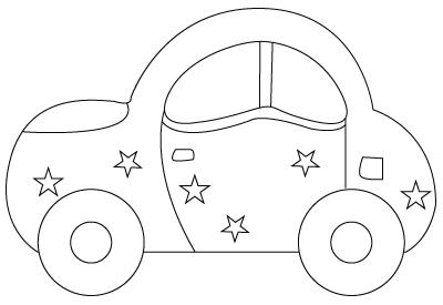 Tegning til farvelægning af en bil