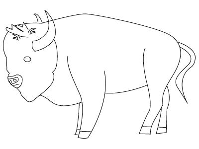 Tegning til farvelaegning af en bisonokse