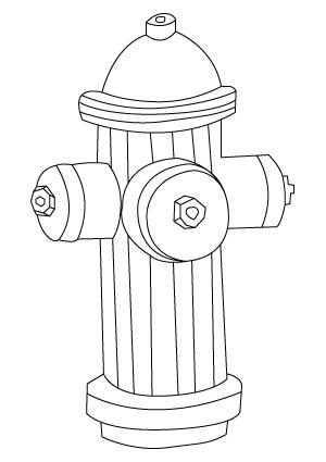 Tegning til farvelægning af en brandhane