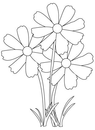 Tegning til farvelægning af en buket blomster
