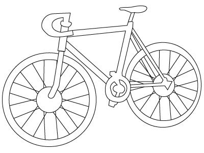Tegning til farvelægning af en cykel