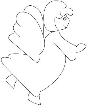 Tegning til farvelaegning af en engel