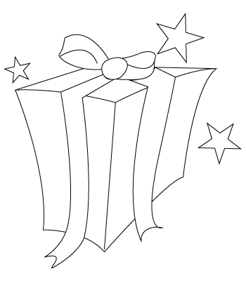 Tegning til farvelægning af en gave
