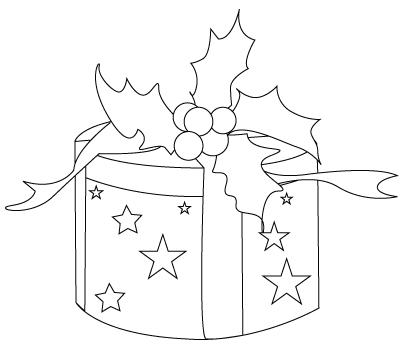 Tegning til farvelægning af en julegave