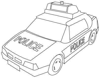Tegning til farvelægning af en politibil