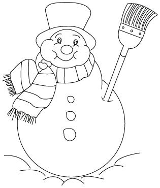 Tegning til farvelægning af en snemand