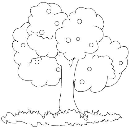Tegning til farvelægning af et træ