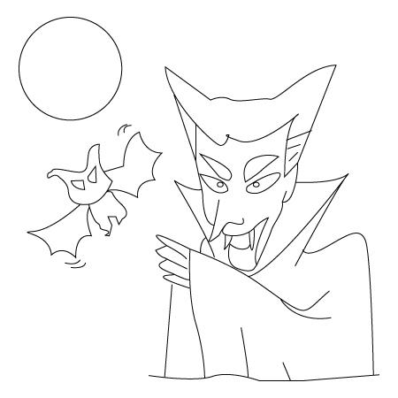 Tegning til farvelaegning af Drakula