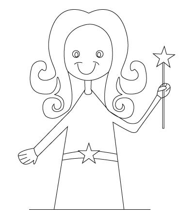 Tegning til farvelaegning af en fe