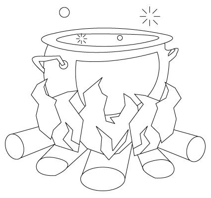 Tegning til farvelaegning af en gryde