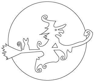 Tegning til farvelaegning af en heks