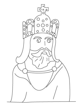 Tegning til farvelaegning af en konge