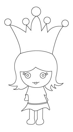 Tegning til farvelaegning af en prinsesse