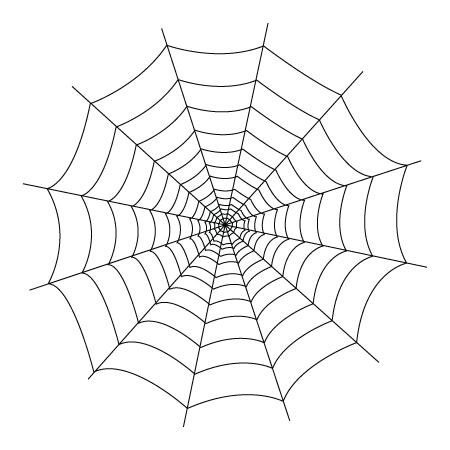 Tegning til farvelaegning af et edderkoppespind