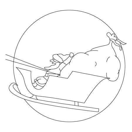 Tegning til farvelaegning af en julemandens kane