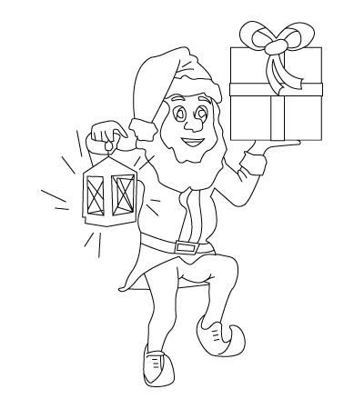 Tegning til farvelaegning af en julenisse