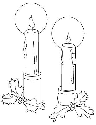 Tegning til farvelaegning af et tyndt jule stearinlys