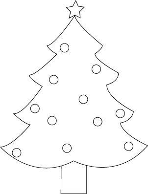Tegning til farvelaegning af et juletrae
