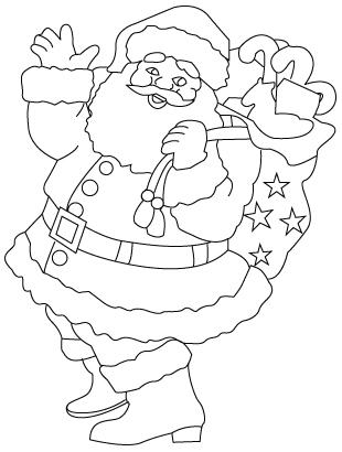 Tegning til farvelaegning af julemanden
