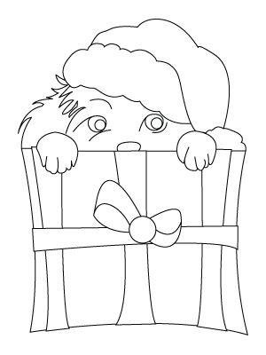 Tegning af en jule hund til farvelaegning