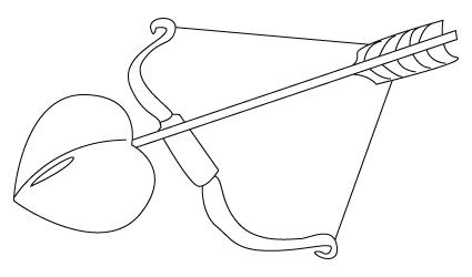 Tegning til farvelaegning af Amors pil