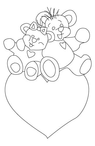 Tegning til farvelaegning af en Valentins dag bamse