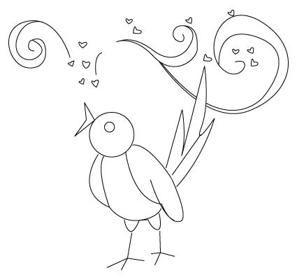 Tegning til farvelaegning af en Valentins dag fugl