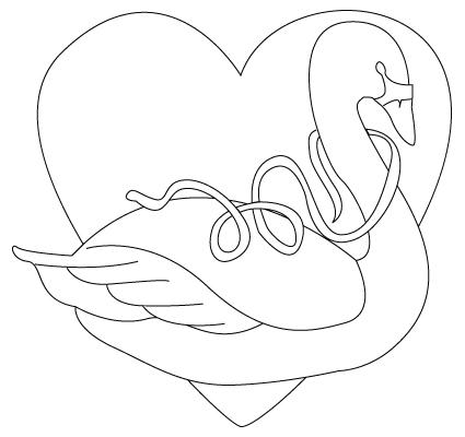 Tegning til farvelaegning af en Valentins dag svane