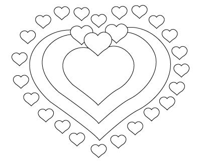 Tegning til farvelaegning af et Valentins dag hjerte
