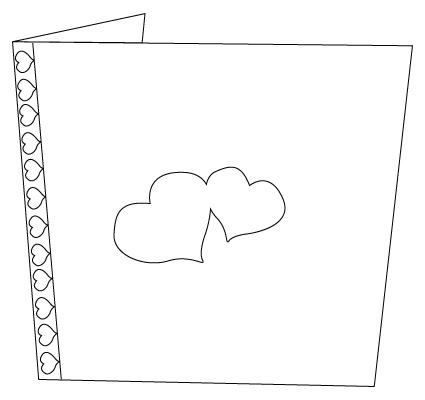 Tegning til farvelaegning af et Valentins dag kort