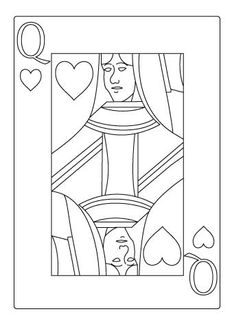 Tegning til farvelaegning af hjerter dame