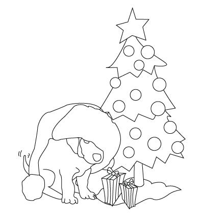 Tegning til farvelaegning af jule hund