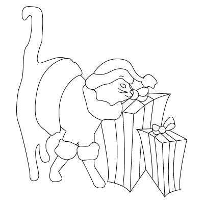 Tegning til farvelaegning af jule kat