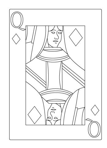 Tegning til farvelaegning af ruder dame