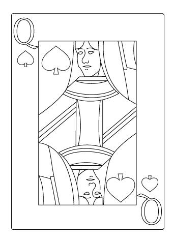 Tegning til farvelaegning af spar dame