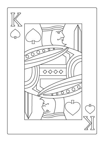 Tegning til farvelaegning af spar konge