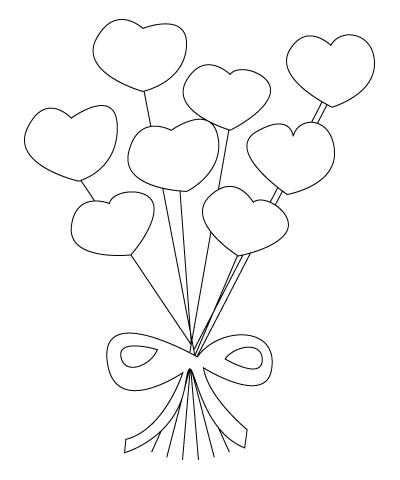 Tegning til farvelaegning af Valentins dag blomster