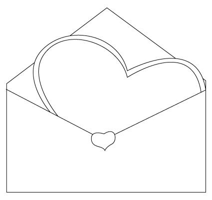 Tegning til farvelaegning af en Valentins dag kuvert